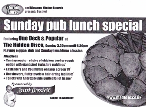 sunday pub lunch special- steroid abuse bestival flyer